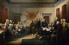 Founding Fathers signing the Declaration of Independence